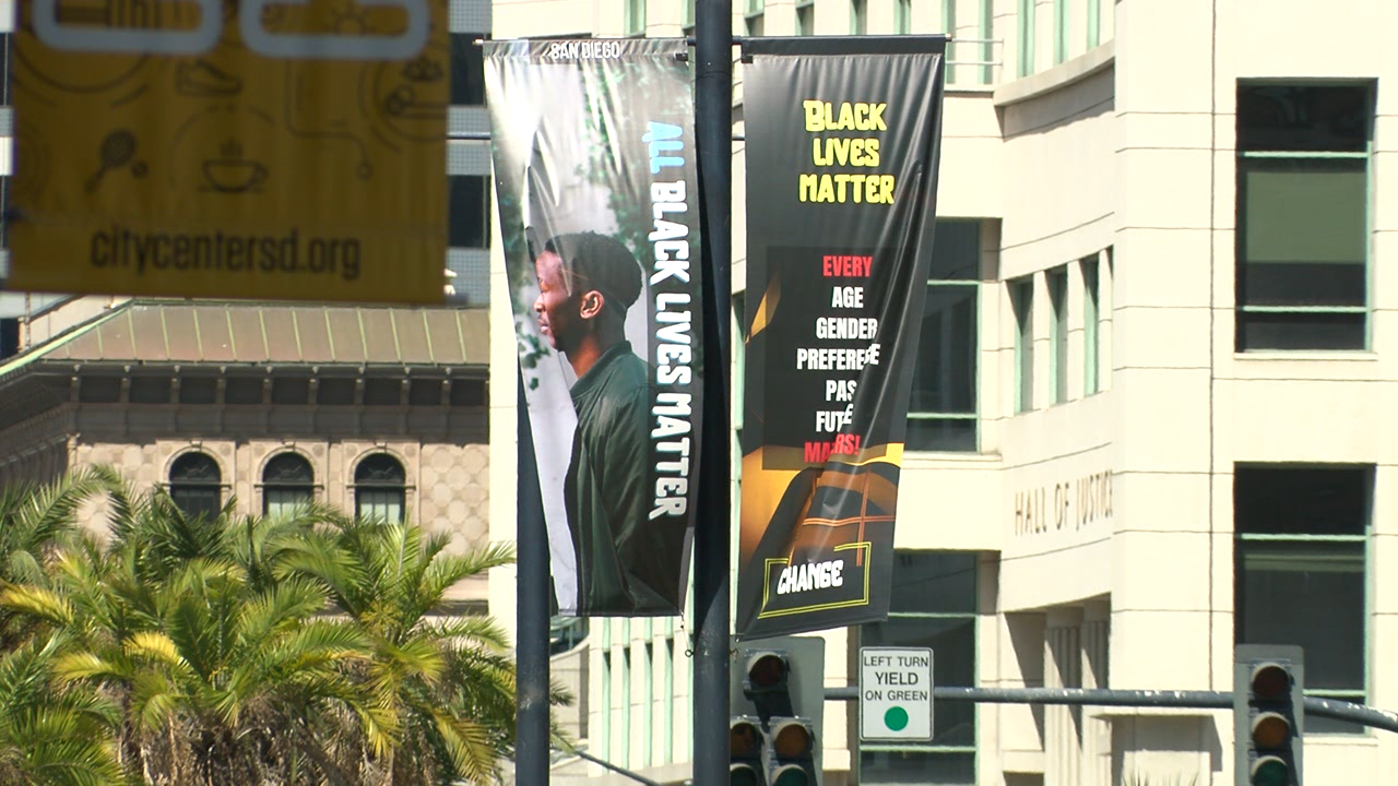 Artists Hang Black Lives Matter Banners Along Broadway In Downtown San Diego