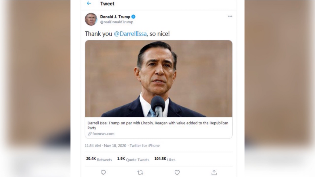 Trump Thanks Issa Tweet
