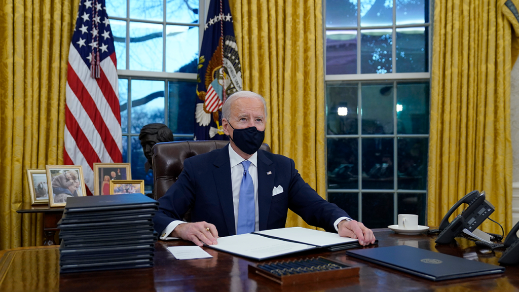 Biden Signs Executive Orders On Day One