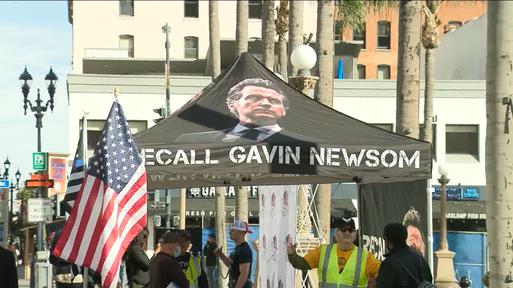 Recall Newsom Tent In San Diego Downtown