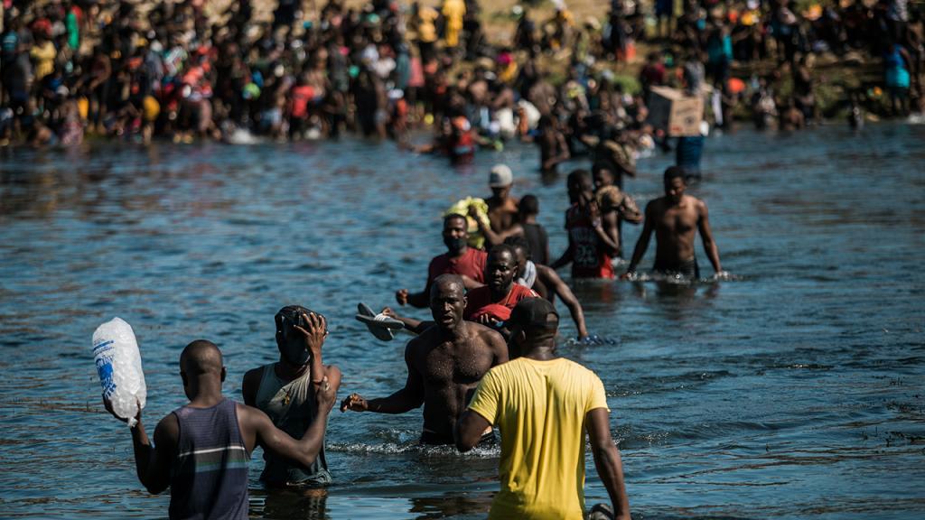 Haitian Migrants Crossing Del Rio River