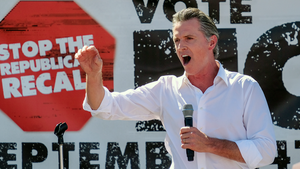 Newsom Yelling At Stop Recall Event