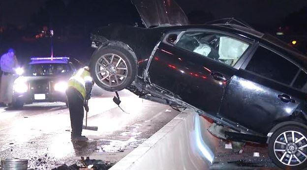 Dui Crashed Car Over Divider