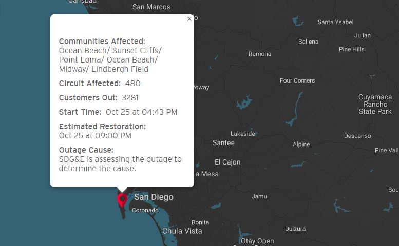 Oct 25 Power Outage Map