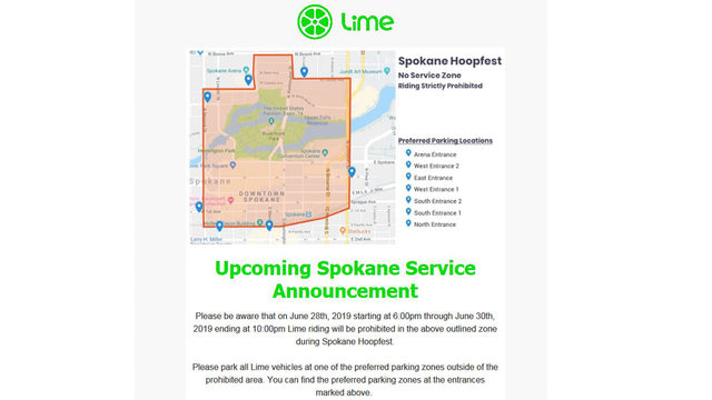 Lime bikes and scooters will be prohibited in parts of downtown during Hoopfest