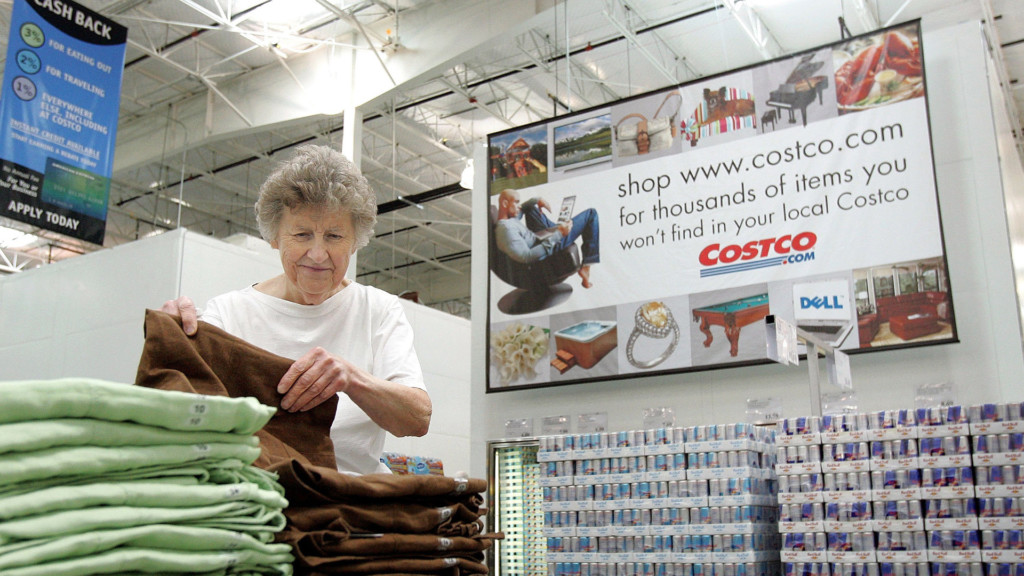 A woman shopping in a costco
