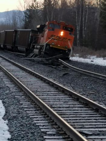 Empty coal train derails due to washed out track