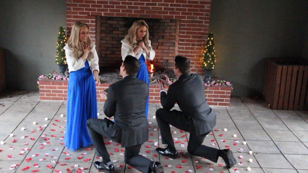 Twin brothers propose to twin sisters