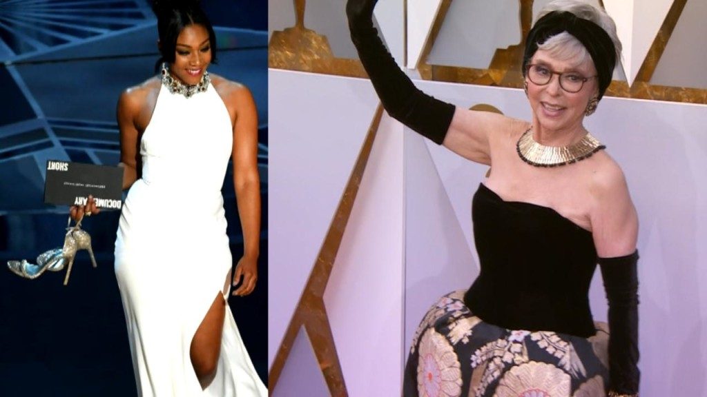Tiffany Haddish, Rita Moreno and other actresses wear recycled dresses on Oscar red carpet