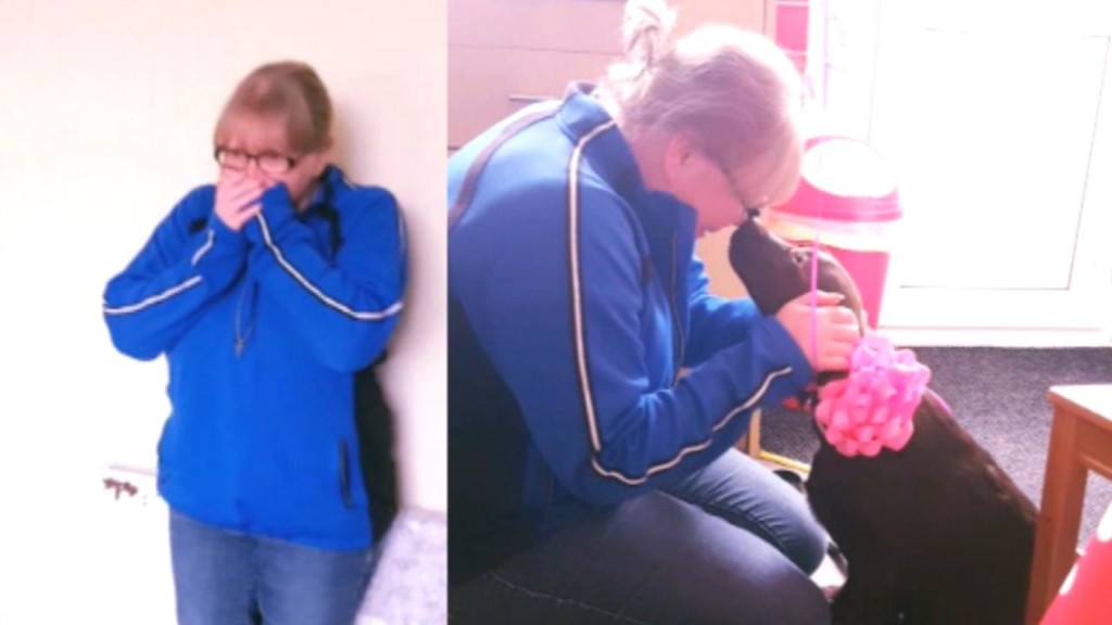 Wife sobs as husband surprises her with puppy for her 40th birthday