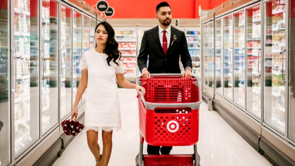 Happy couple has engagement photo shoot at Target