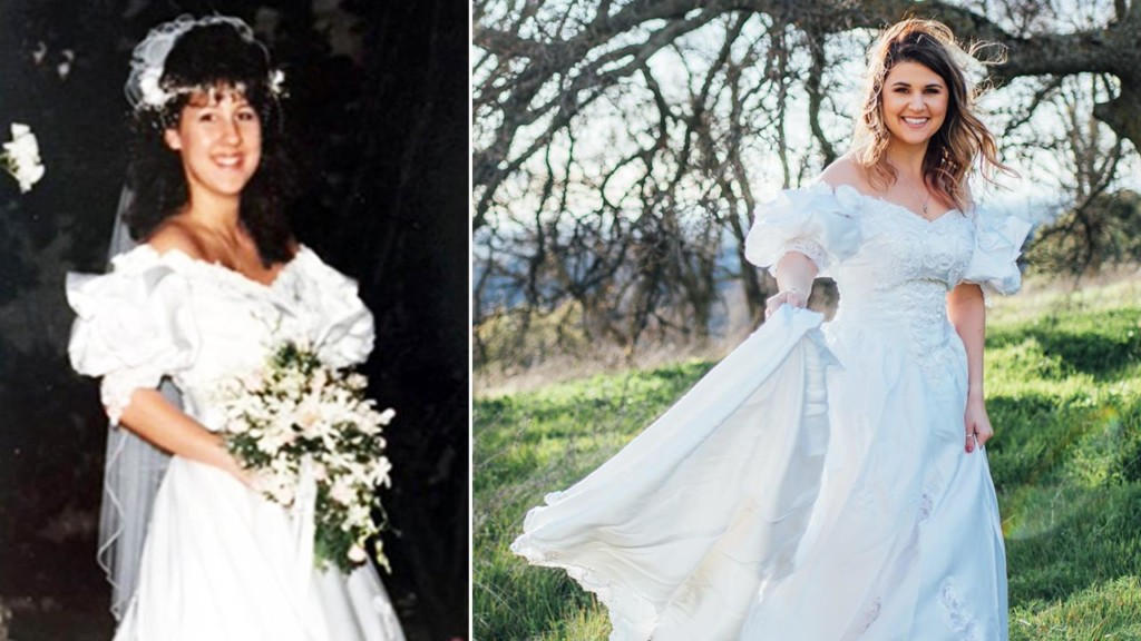Woman wears late mother's wedding dress in touching photo shoot