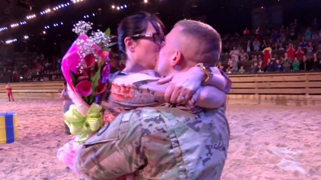Soldier surprises wife at Dolly Parton's Stampede