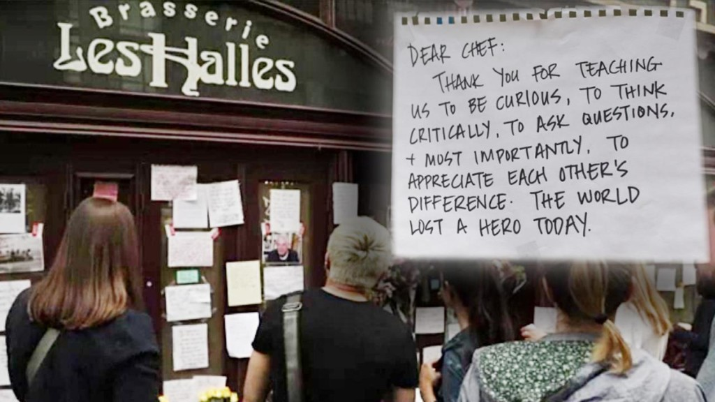 Fans pay tribute to Anthony Bourdain outside his NYC restaurant