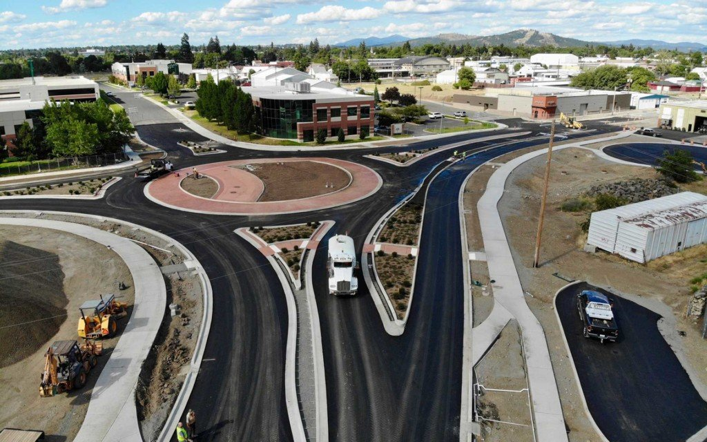 New roundabout opens on Trent Avenue in Spokane