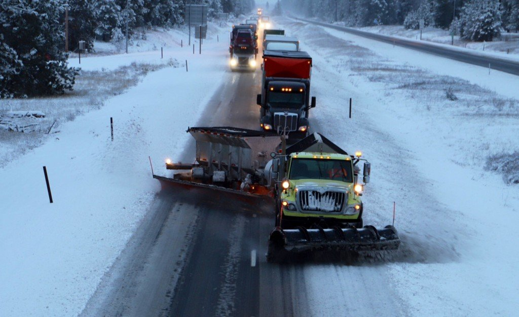 Trucks follow snow plows too closely
