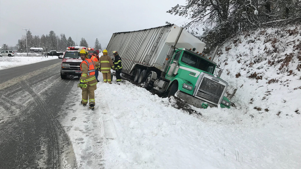 Semi crashes on Highway 2