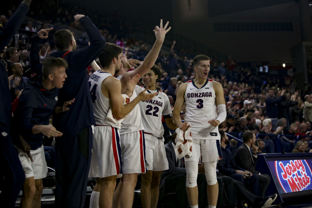 Gonzaga's bench celebrates a three-point shot
