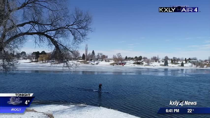 Air 4 Adventure: Fly along with a paddleboarder braving a frigid Moses Lake