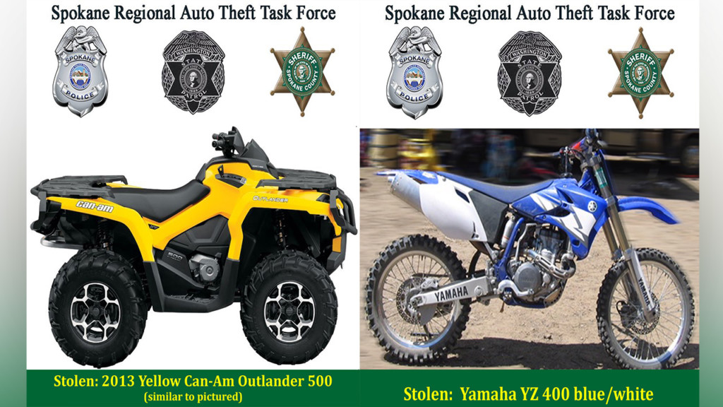 Detectives request help for stolen ATV, dirt bike