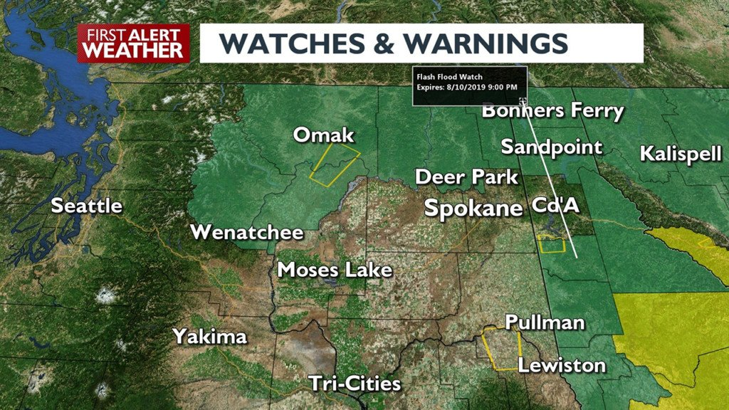 Severe thunderstorm warning in effect throughout Inland Northwest