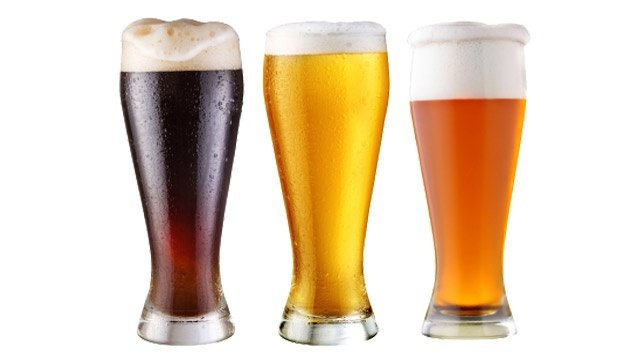 Three Beers on a White Background