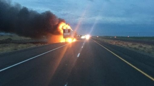 Semi carrying berries catches fire along I-90, west of Moses Lake