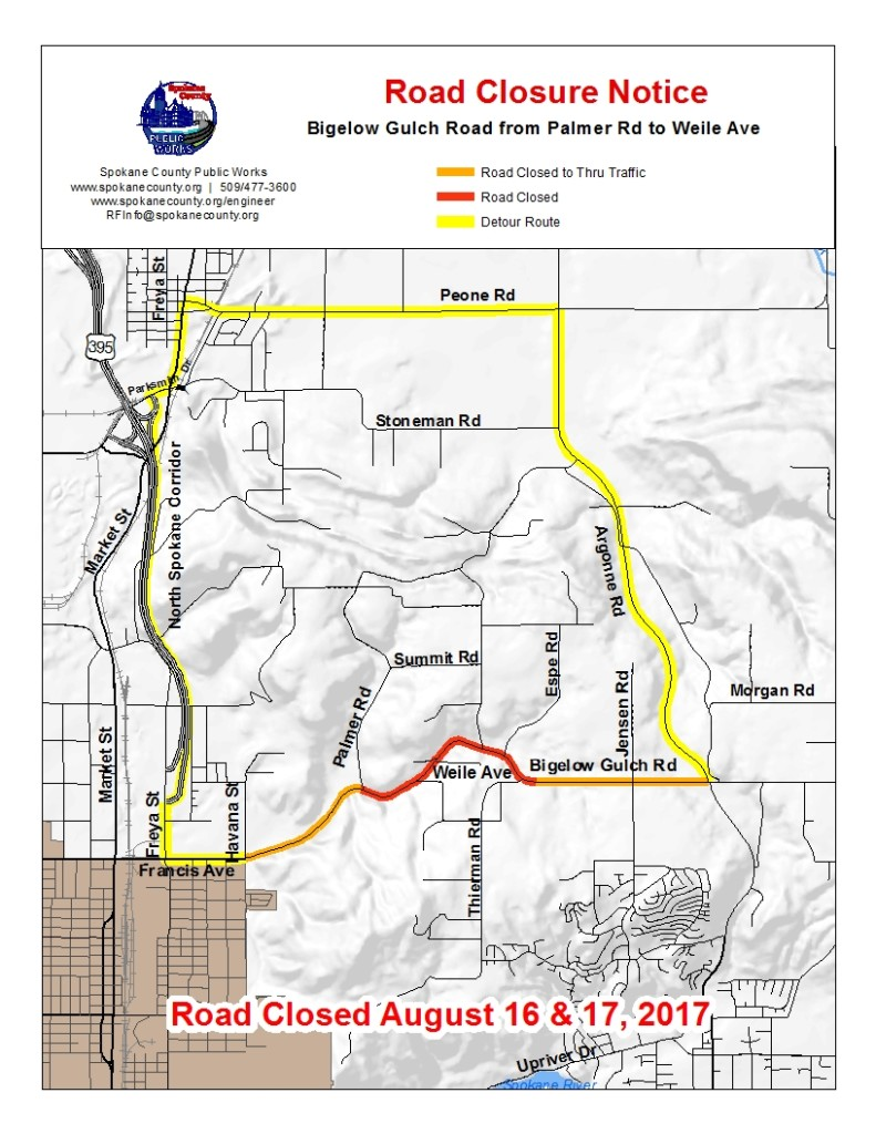 Portion of Bigelow Gulch to close for repaving on August 16-17