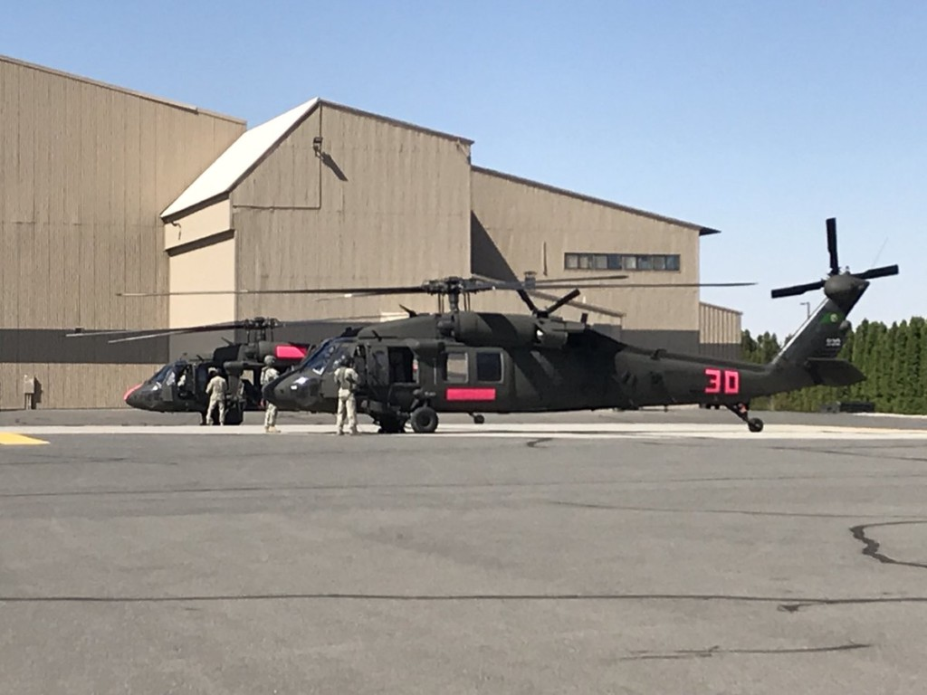 Black Hawks arrive at Fairchild AFB to help aid in fire fight