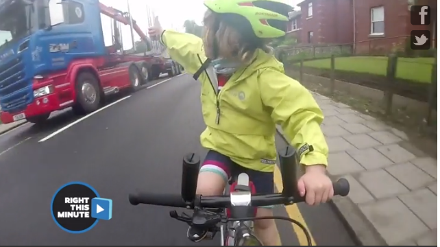 Adorable cyclist reminds us to share the road