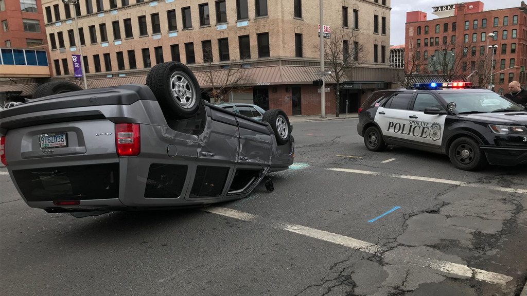 Two lanes of Stevens closed for overturned car