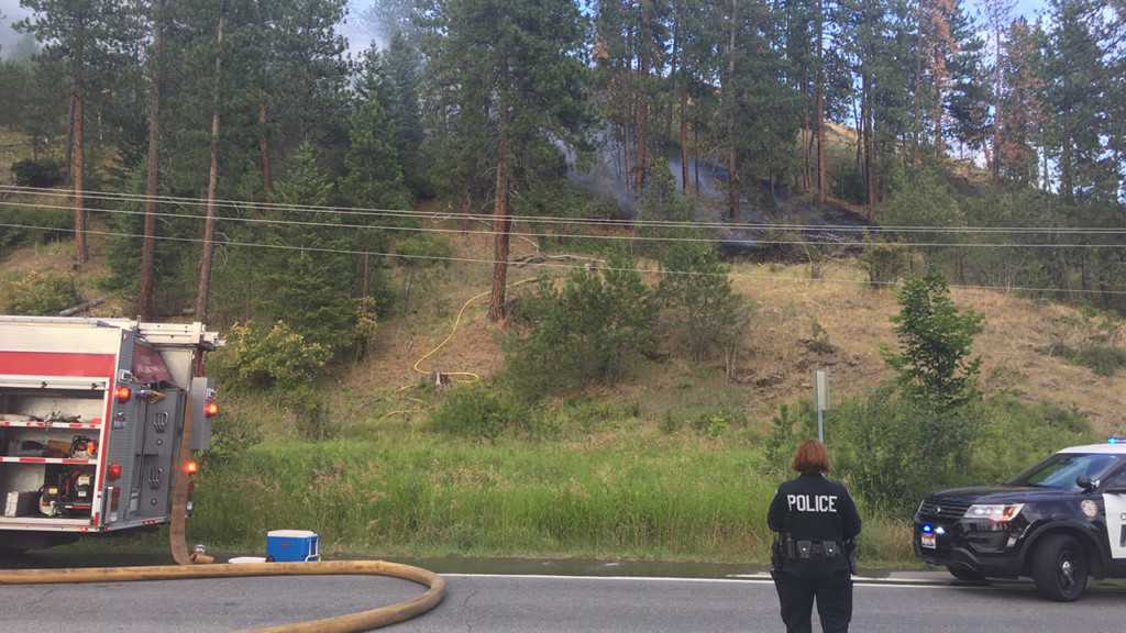 Fire crews responding to fire near Coeur d'Alene, north of freeway