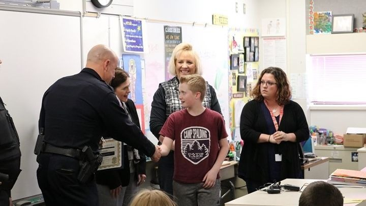 Moran Prairie student honored for saving 3-year-old while on patrol duty