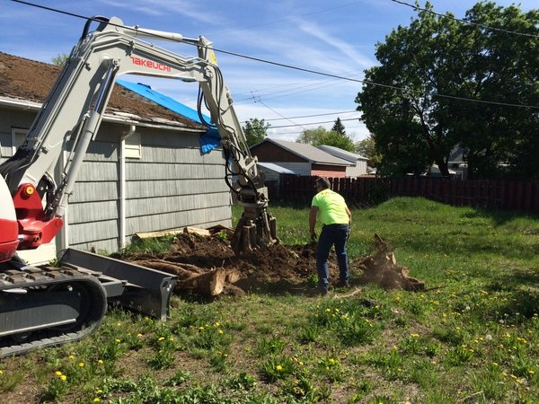 Extreme Team helps clear out stumps left over from windstorm