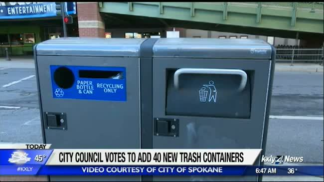 City council approves new solar-powered trash cans for downtown Spokane