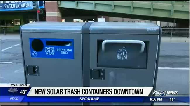City installs new high-tech trash cans downtown Spokane