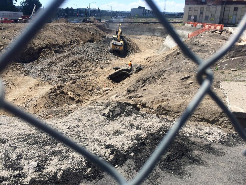 Crews blasting rock downtown for new stormwater basin