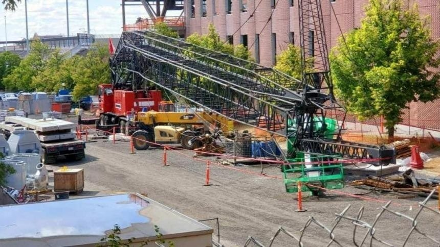 Crane collapses at WSU construction site, no one hurt