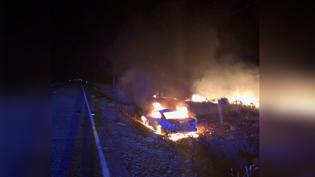 Driver hits deer, car catches fire and sparks nearby field