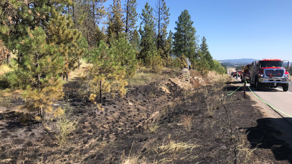 Spokane County Fire contains several brush fires on 395 north of Spokane