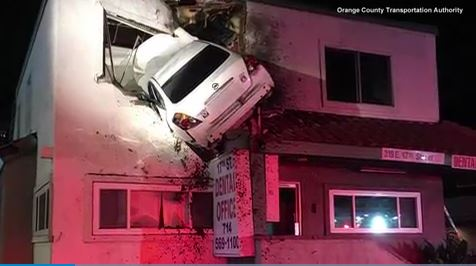 Incredible dashcam video shows the moment car flew into dentist's office