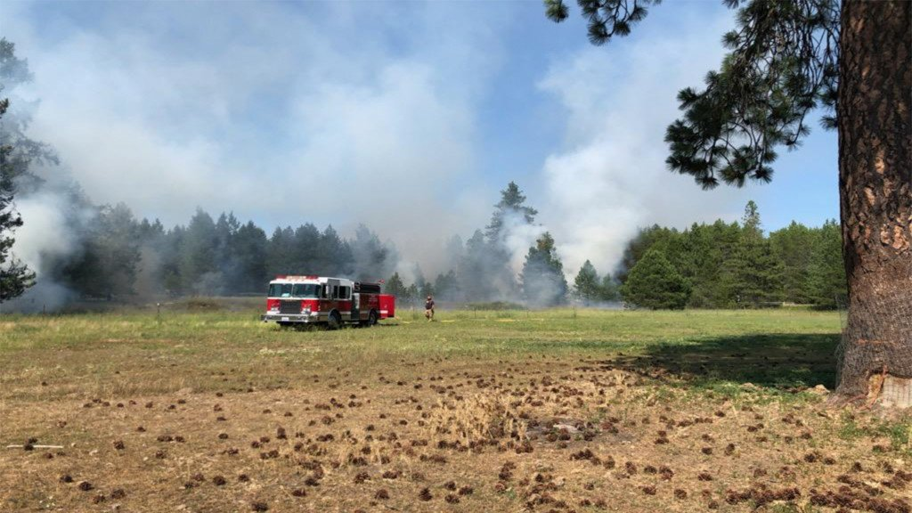 Two buildings, two cars destroyed by brush fire near Diamond Lake