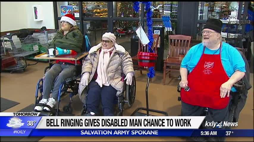 Disabled man hopes bell ringing for Salvation Army Spokane will lead to full time employment