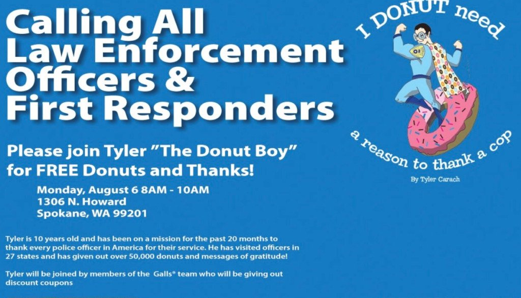 """Donut Boy"" delivering donuts to Spokane law enforcement officers Monday"