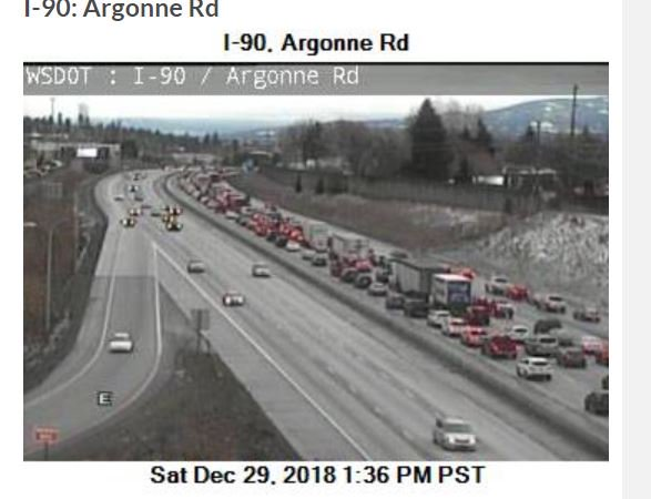 Crash on I90 eastbound near Pines and Argonne, traffic backed up