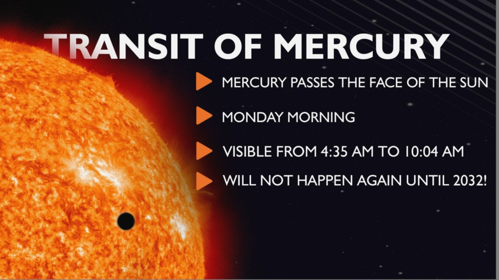 Transit of Mercury will be visible this morning