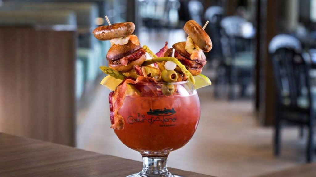 Drink up: Local Bloody Mary topped with grilled cheese sandwiches, shrimp, bacon