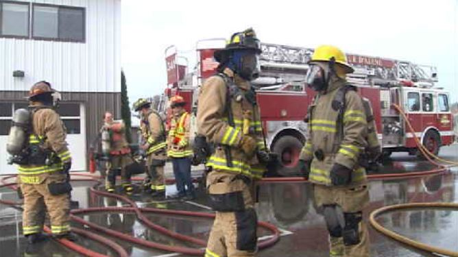 KXLY4 goes through firefighter training with Coeur d'Alene Fire