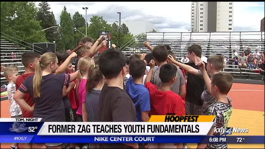 Former Zag teaches youth fundamentals at Hoopfest
