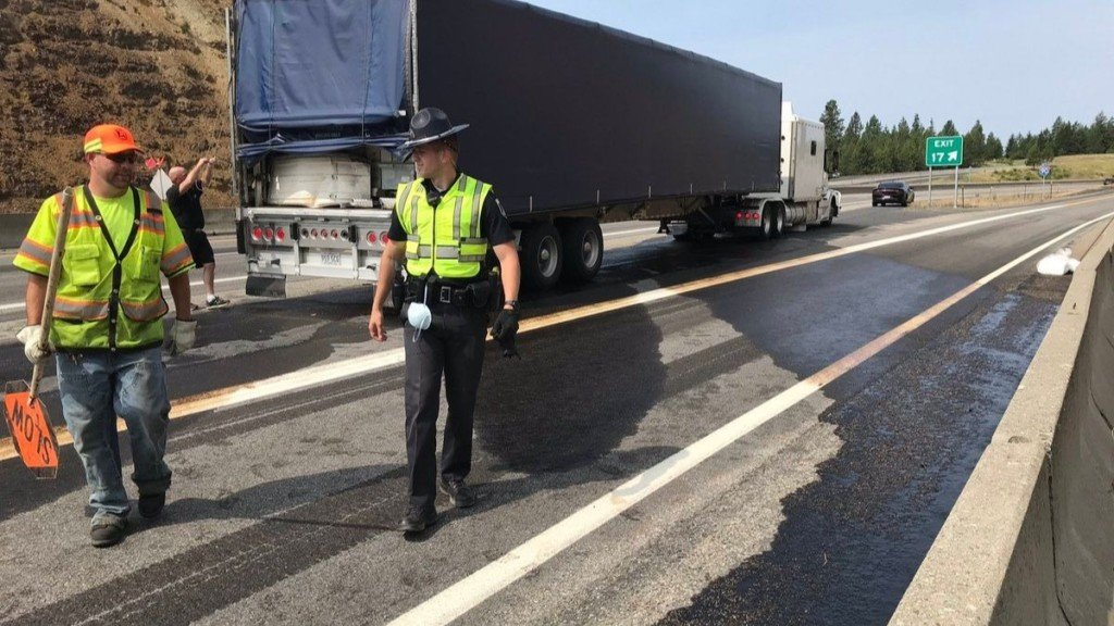 One lane of WB I-90 near Mullan Trail Road back open after semi crash, fuel spill